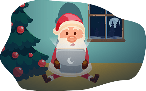 Santa reading messages and letters to Santa on his laptop