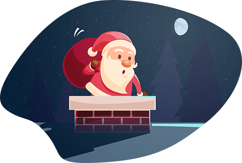 Santa Claus with sack of presents climbing down the chimney on Christmas Eve