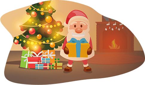 Santa delivering presents by the Xmas Tree on Christmas Eve