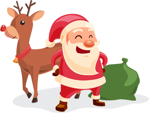 Santa Claus and reindeer with Christmassack